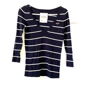 Hollister stripped navy and white sweater